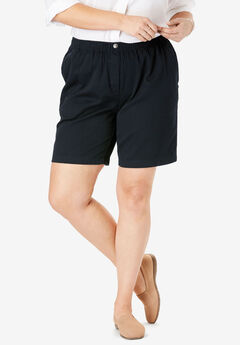 Elastic-Waist Cotton Short, BLACK
