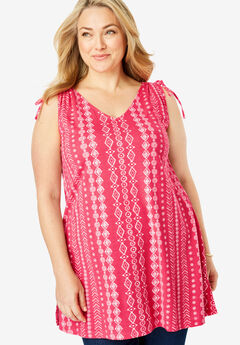 Ruched Sleeve V-Neck Tunic Tank,