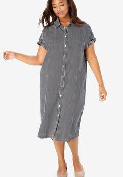 Midi Shirtdress, BLACK WHITE STRIPE