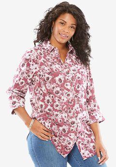 Cuffed Sleeve Peachskin Button Down Shirt, FIG BLOSSOM, hi-res