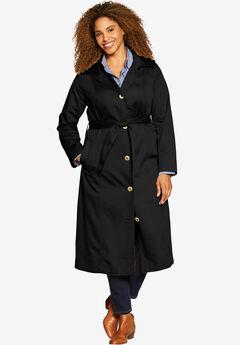 Water-Resistant Long Trench Coat, BLACK