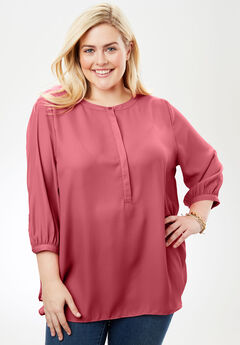 Pleat-back Mandarin blouse, ROSE BLOOM, hi-res
