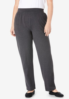 Straight Leg Relaxed Knit Pant, HEATHER CHARCOAL, hi-res