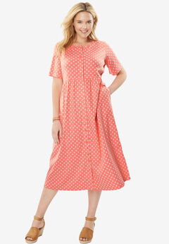 Dress with button front, empire waist by Only Necessities®, FLAMINGO PINK FOULARD, hi-res