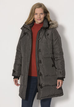 Heathered, hooded down puffer coat, HEATHER CHARCOAL, hi-res