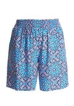 Soft Smocked Shorts by Chelsea Studio®, DEEP WATER TILE, hi-res