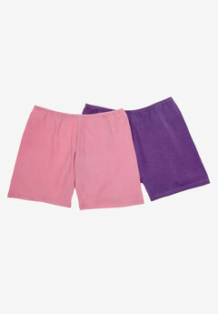 2-Pack Cotton Fitted Boxer Boyshort by Comfort Choice®, VIOLET ROSE PACK