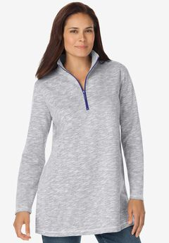 QUARTER-ZIP TUNIC SWEATSHIRT,