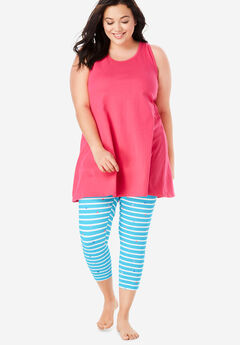 Scoopneck Tank & Capri Legging PJ Set by Dreams & Co.®, BRIGHT AQUA STRIPE