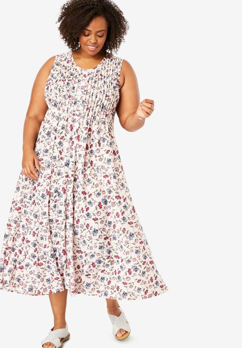 43304f673b Pintucked Floral Sleeveless Dress