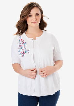 Perfect Elbow-Length Sleeve Cardigan, BRIGHT BERRY FLORAL EMBROIDERY