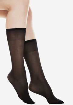 6-Pack Extended Size Sheer Knee-High by Comfort Choice®, COFFEE BEAN, hi-res