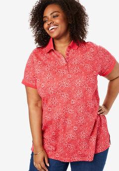 Perfect Printed Polo Shirt, SOFT GERANIUM SPRAY FLORAL