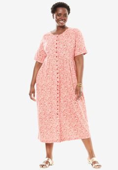 Empire knit dress by Only Necessities®, HOT RED CROSSHATCH FLORAL, hi-res