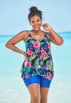 Longer Length Mesh Tankini Top by Swim 365,