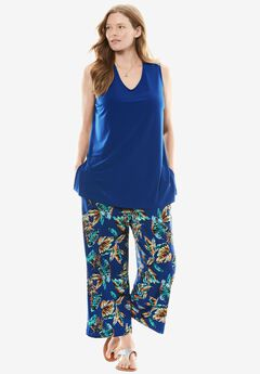 Soft knit printed pants set, EVENING BLUE TROPICANA, hi-res