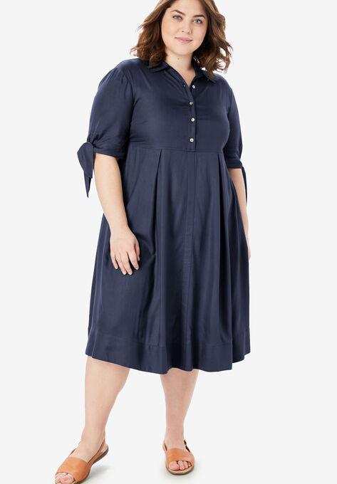 Tie-Sleeve Henley Dress