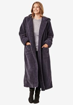 Hooded Berber Fleece Duster Coat,