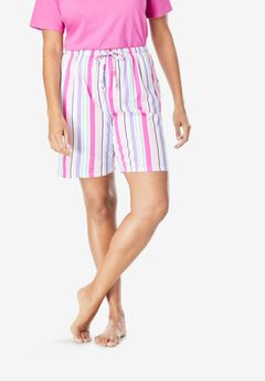 Print Pajama Shorts by Dreams & Co.®, PINK MULTI STRIPE