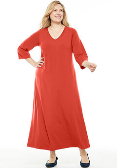 Maxi T-Shirt Dress with Princess Seams, SAHARA ORANGE