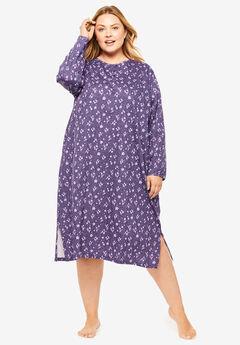 Long-Sleeve Henley Print Sleepshirt by Dreams & Co.®,