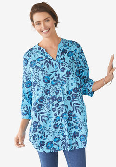 Three-Quarter Sleeve Tab-Front Tunic,
