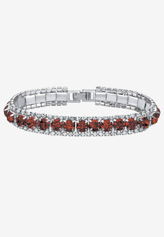 "Silver Tone Tennis Bracelet Simulated Birthstones and Crystal, 7"","