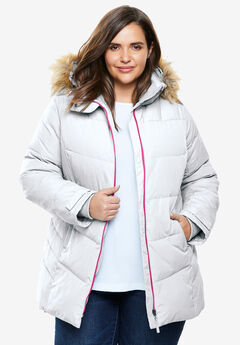 Fur Trim Hooded Ski Jacket,