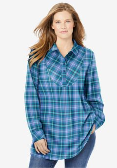 Henley Bib Flannel Shirt, FRENCH BLUE COZY PLAID