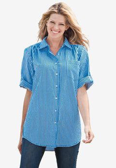 Short Sleeve Button Down Seersucker Shirt, VIBRANT BLUE POP STRIPE