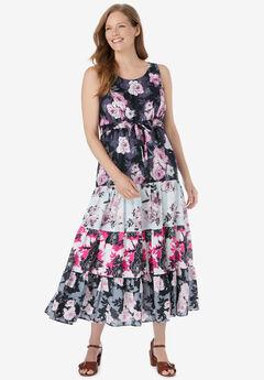 Triple Tiered Sleeveless Maxi Dress, BLACK ROSES