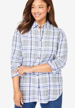 Classic Flannel Shirt, BLUE PLAID