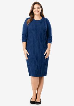 Cableknit Sweaterdress, EVENING BLUE
