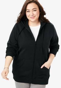 Hooded Better Fleece sweatshirt jacket, BLACK, hi-res