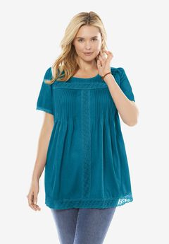 Lace Trim Pintucked Tunic,