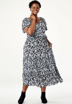 Flutter Sleeve Tiered Crinkle Dress,