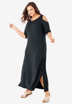 Cold-Shoulder A-Line Maxi Dress,