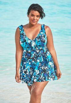 Faux-Wrap Swim Dress by Swim 365,