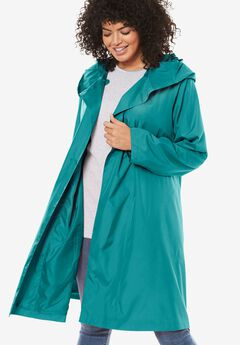 Packable water-resistant hooded raincoat with zip bag, WATERFALL, hi-res