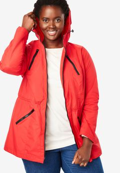 Lightweight hooded anorak jacket with mesh lining,