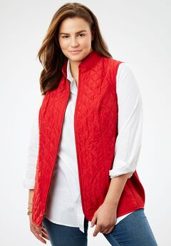 Diamond-Quilted Zip Front Vest, STRAWBERRY RED