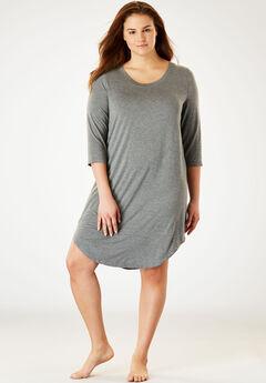 Solid Sleepshirt, MEDIUM HEATHER GREY, hi-res