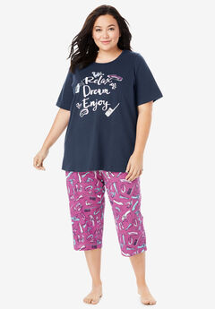 Graphic Tee Capri PJ Set by Dreams & Co.®, NAVY BUBBLE BATH
