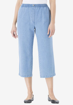 100% Cotton Comfort Pull On Capri Jean, LIGHT STONEWASH, hi-res