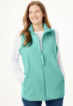 Microfleece Zip Front Vest, SWEET MINT