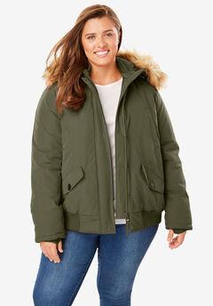 Hooded Arctic Bomber Jacket, DARK OLIVE GREEN