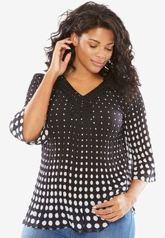 Pleated Popover Bell Sleeve Blouse, BLACK GRADUATED DOTS