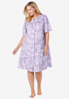 Short Sleeve Waffle Knit Robe, SOFT IRIS PRIMROSE