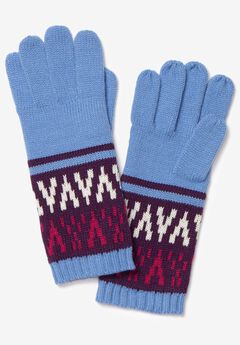 Knit snowflake patterned glove accessories,