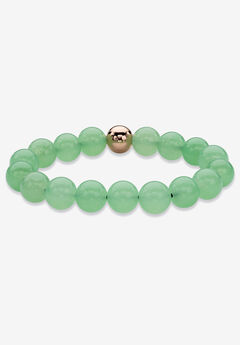 """Yellow Gold Stretch Bracelet with Beaded Genuine Green Jade, 7"""","""
